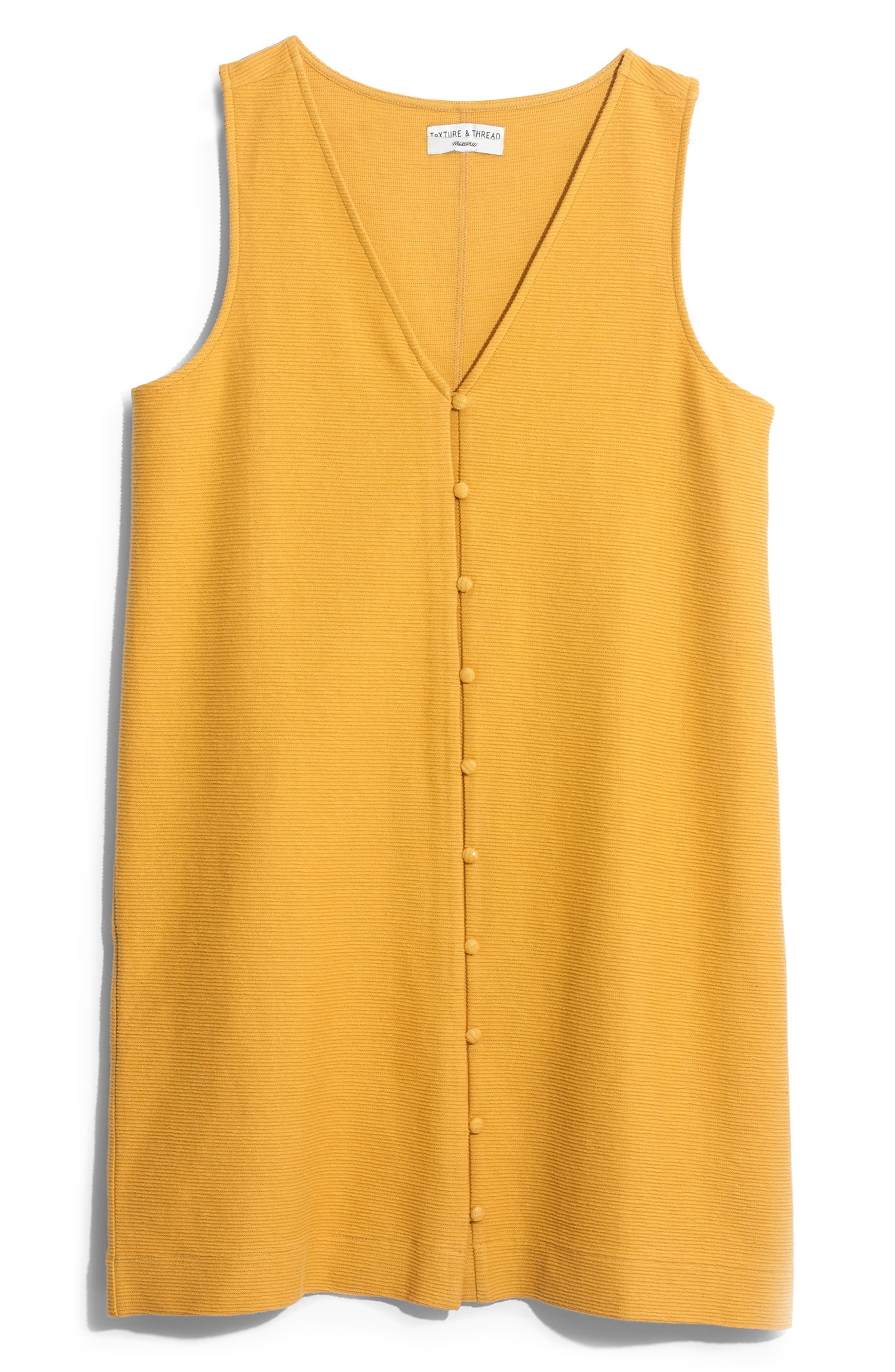 Madewell Texture & Thread Button Front Tank Dress, Yellow