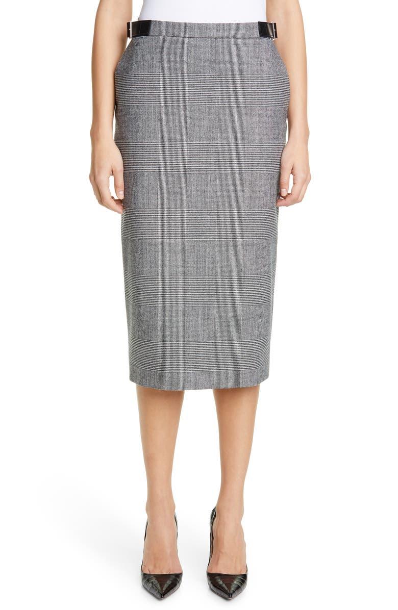 ALTUZARRA Glen Plaid Leather Detail Pencil Skirt, Main, color, BLACK / WHITE