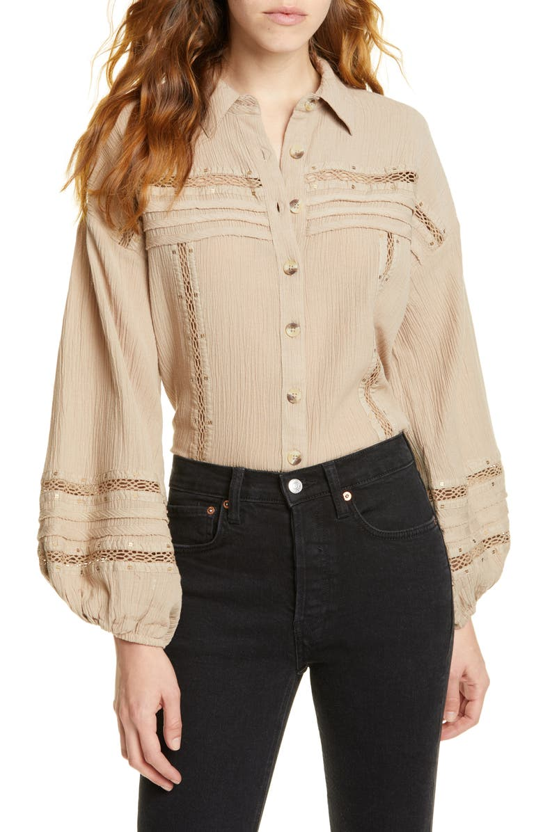 FREE PEOPLE Summer Stars Button Down Shirt, Main, color, GREY