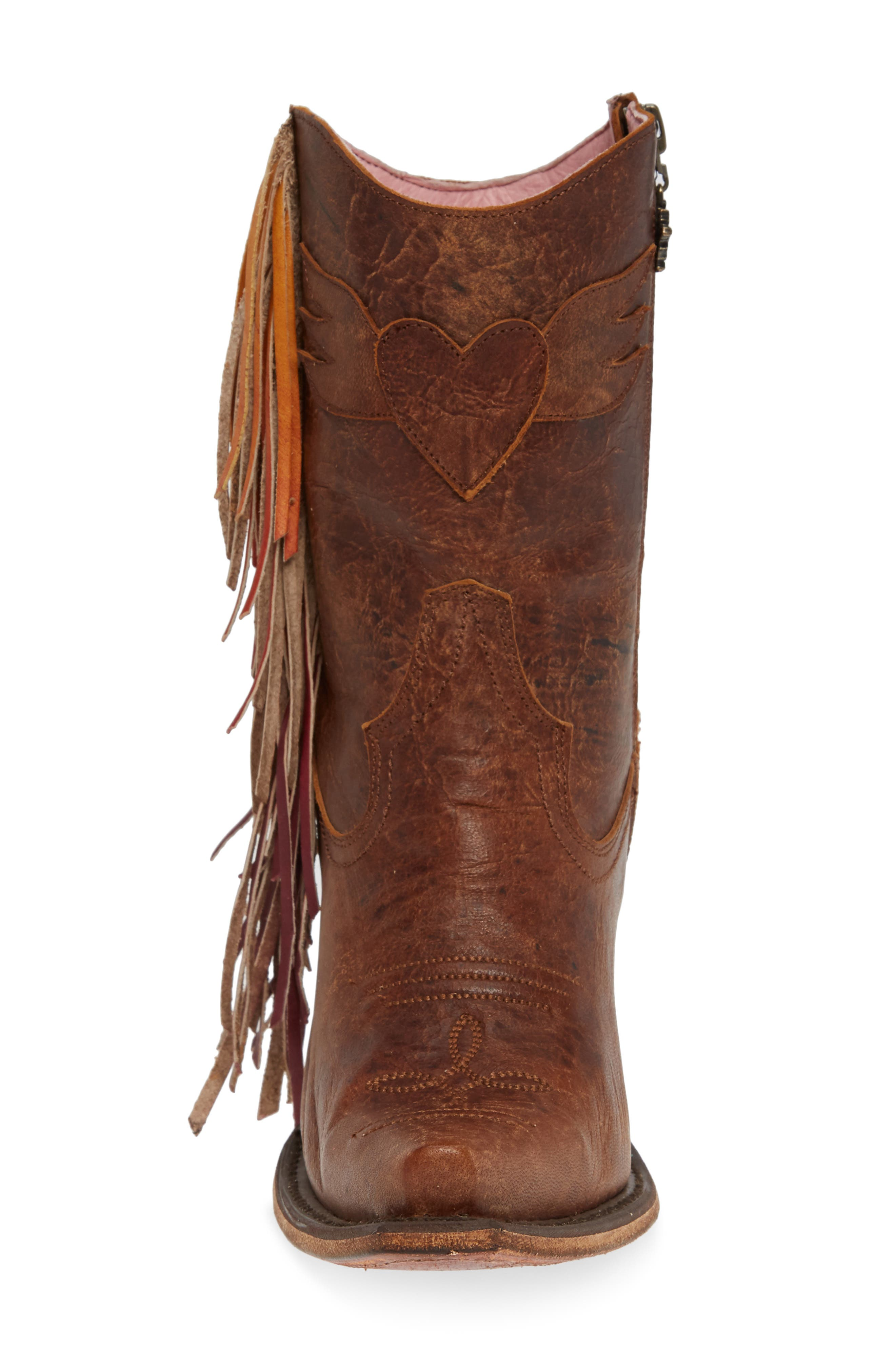 ,                             x Junk Gypsy Fringe Western Bootie,                             Alternate thumbnail 4, color,                             BROWN LEATHER