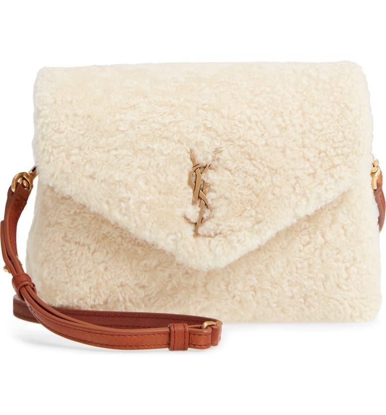 SAINT LAURENT Small Loulou Genuine Shearling Crossbody Bag, Main, color, 900