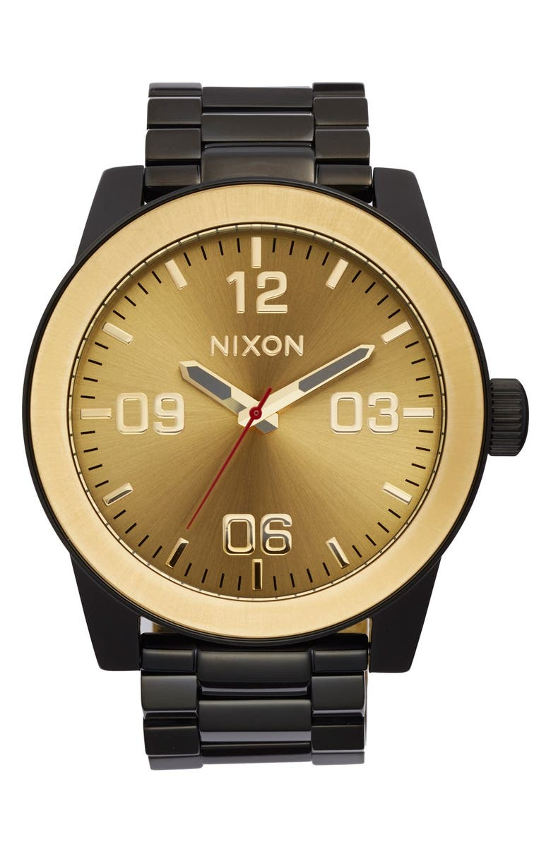 NIXON The Corporal Bracelet Watch, 48mm, Main, color, BLACK/ GOLD