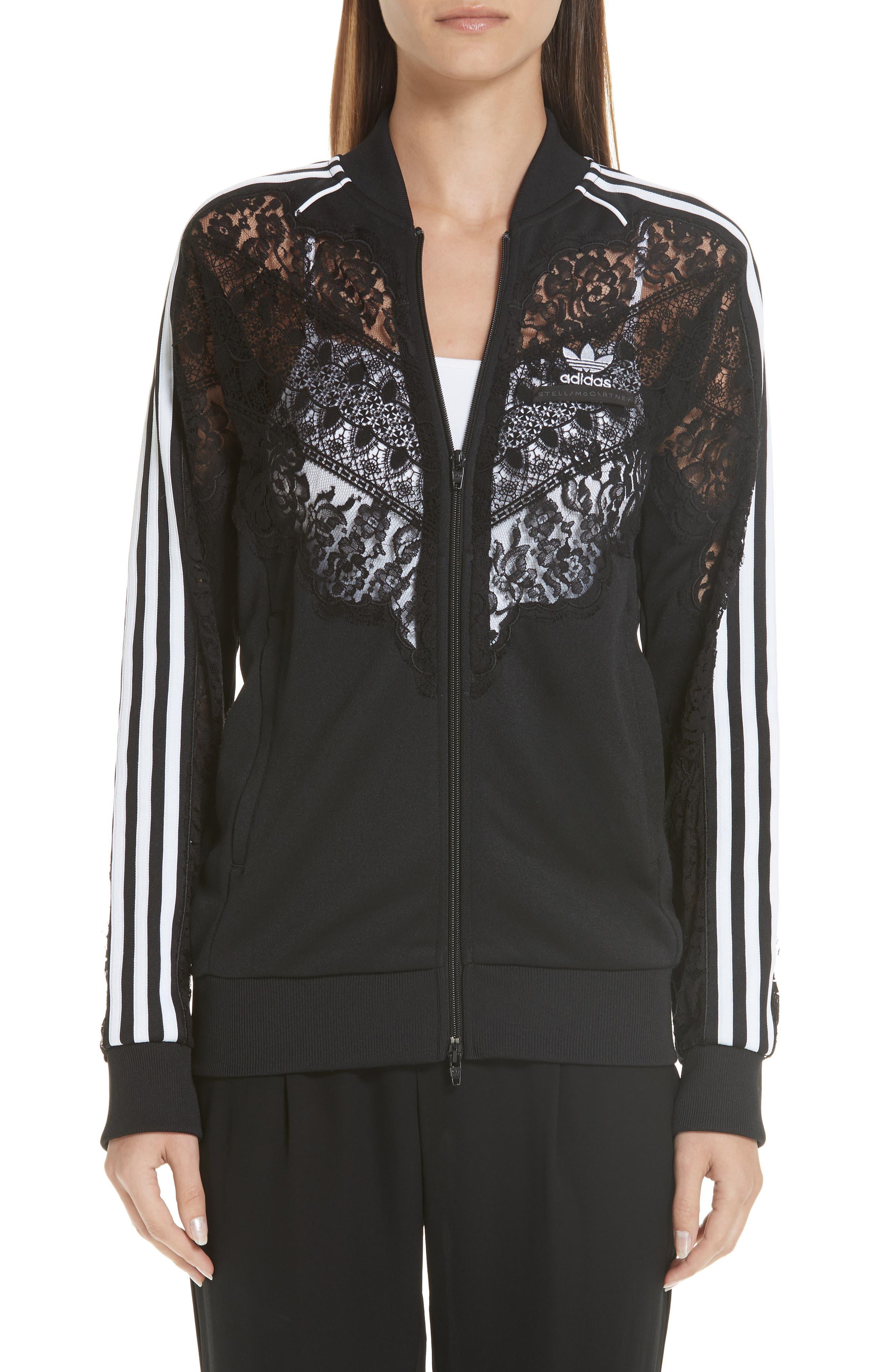 women's stella mccartney lace inset adidas track jacket, size medium - black