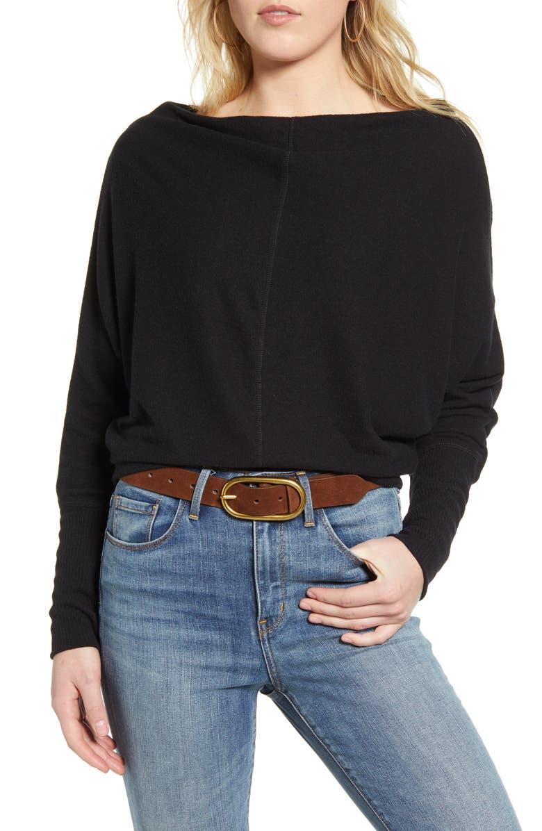 TREASURE & BOND Slouchy Long Sleeve Top, Main, color, BLACK