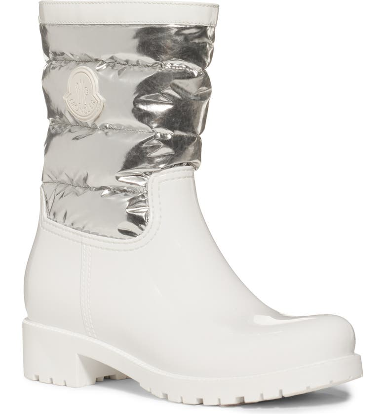 MONCLER Gisele Stivale Waterproof Rain Boot, Main, color, WHITE/ SILVER