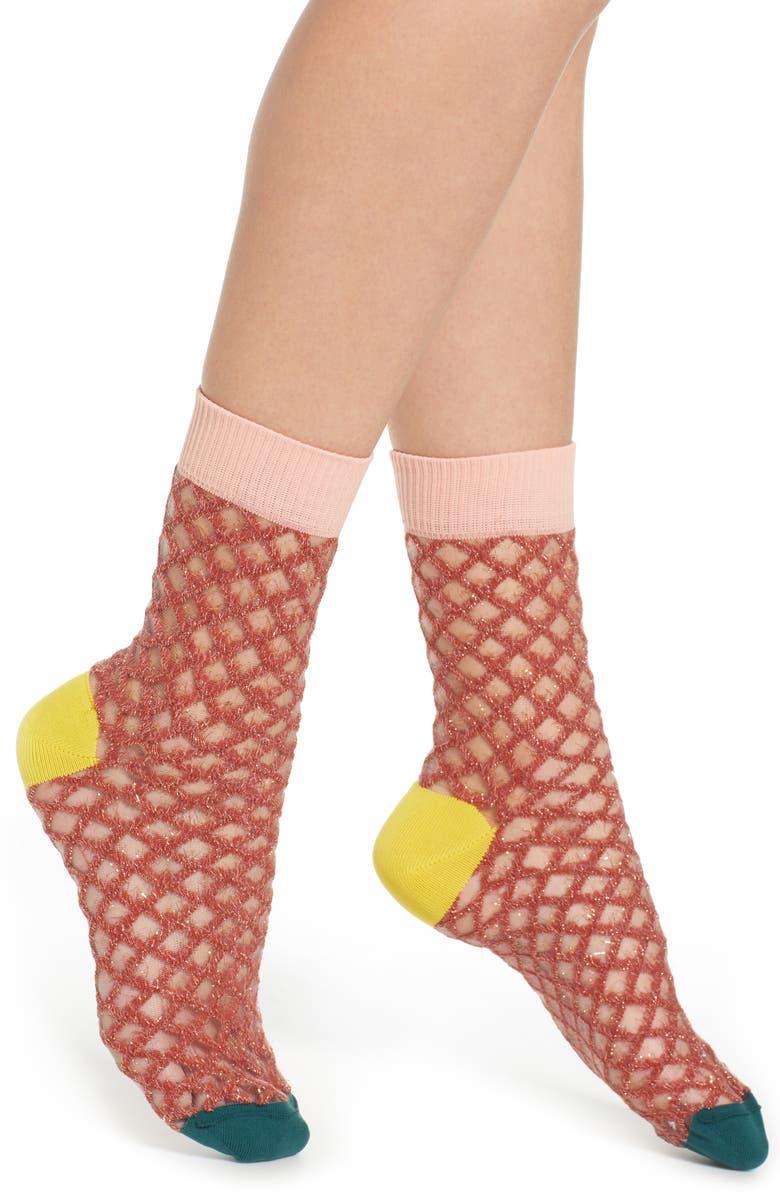 HYSTERIA BY HAPPY SOCKS Cesca Metallic Crew Socks, Main, color, 080