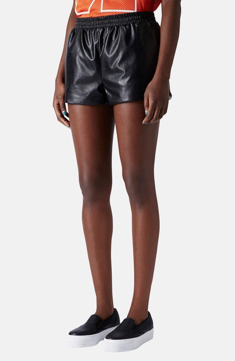 TOPSHOP Faux Leather Running Shorts, Main, color, 001