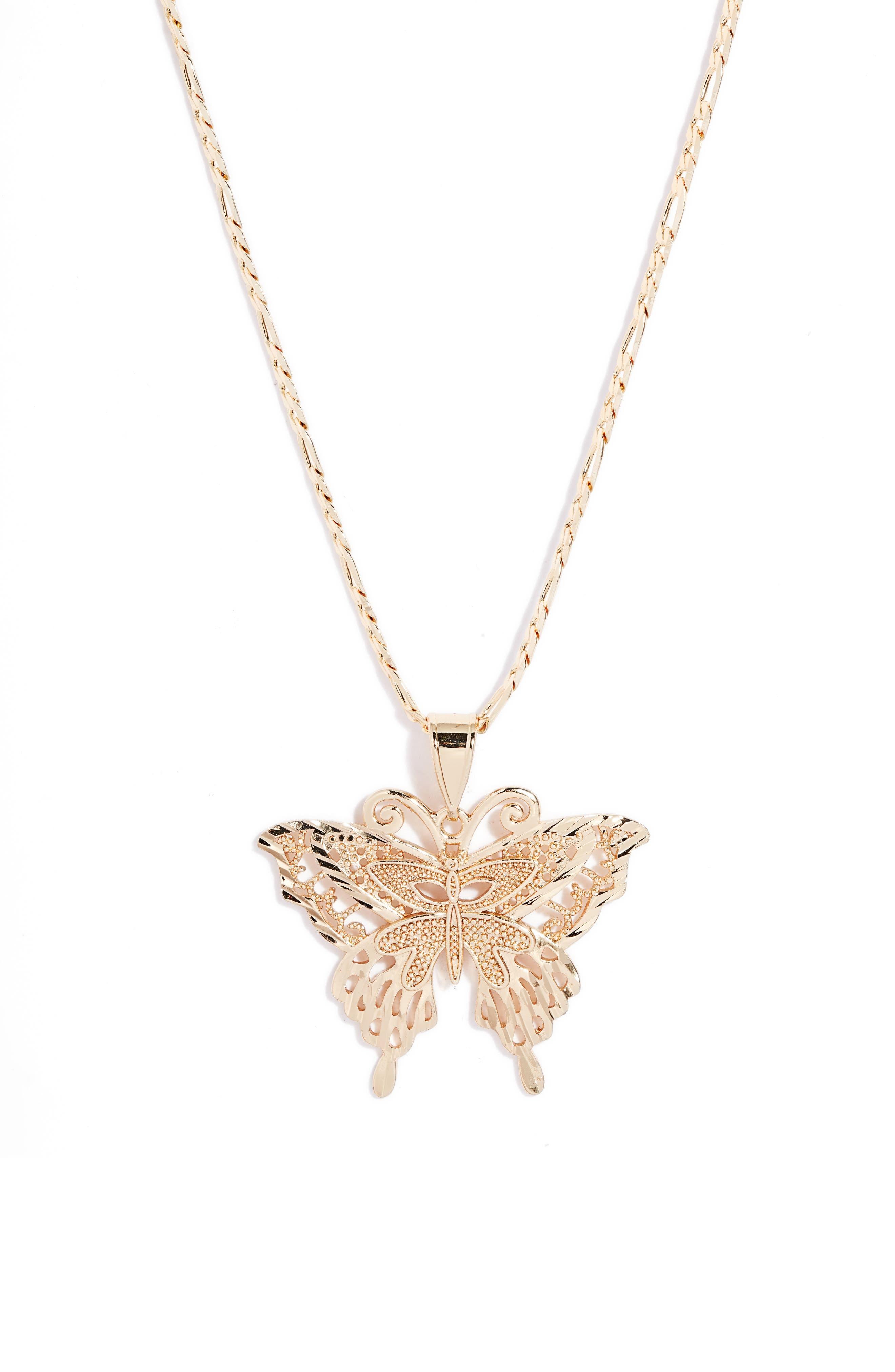 Ornate Butterfly Pendant Necklace