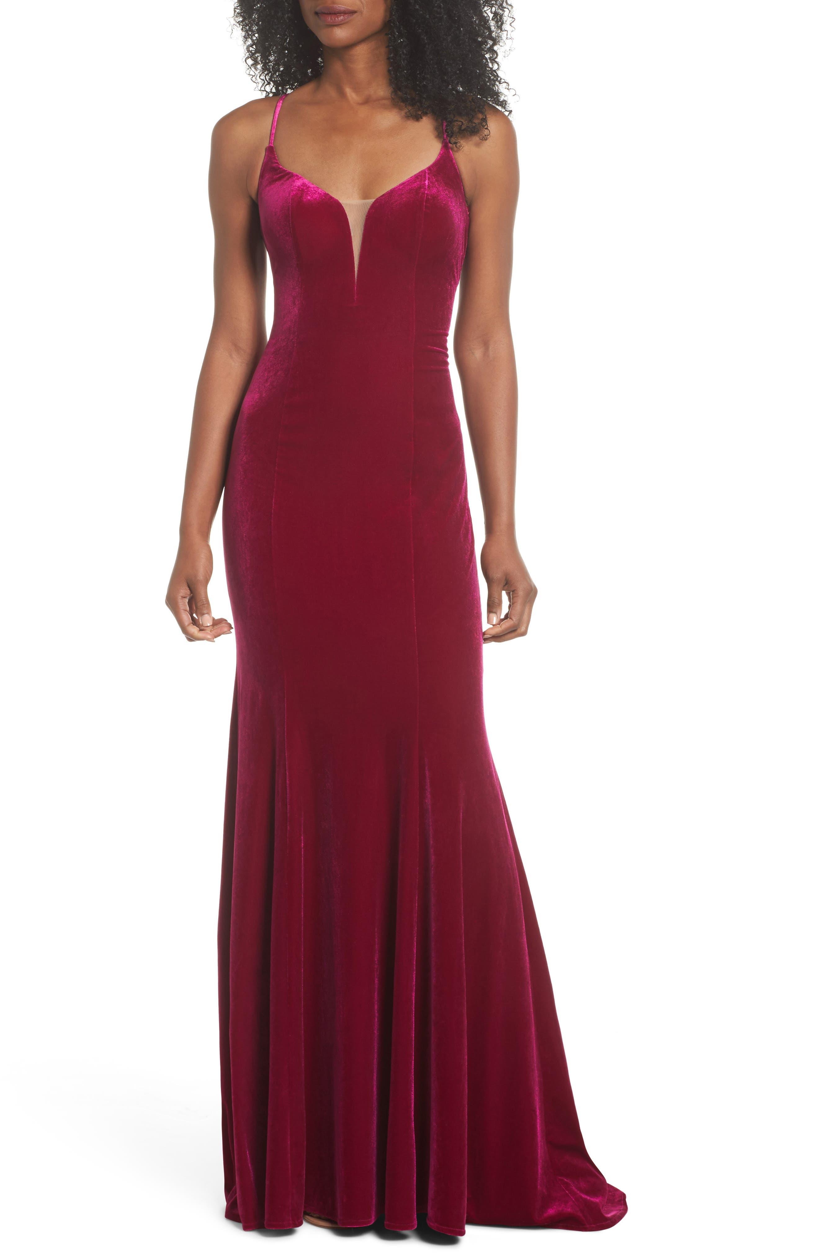 La Femme Crisscross Back Velvet Gown, Pink