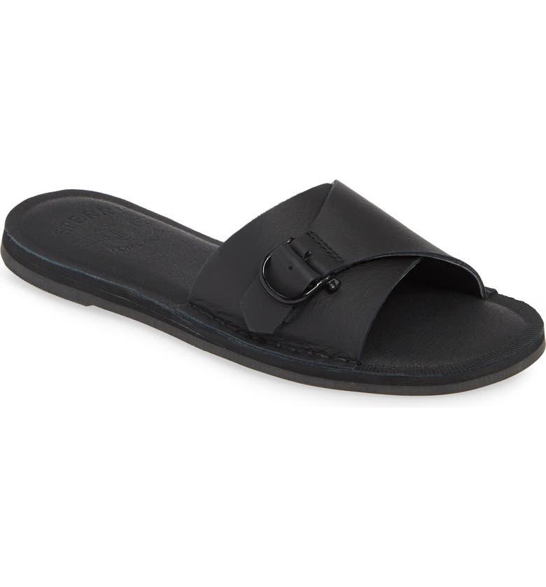 SPERRY Seaport Slide Sandal, Main, color, BLACK LEATHER