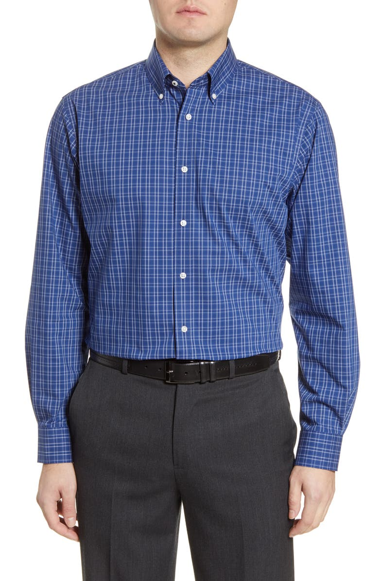 NORDSTROM MEN'S SHOP Tech-Smart Traditional Fit Stretch Check Dress Shirt, Main, color, 420