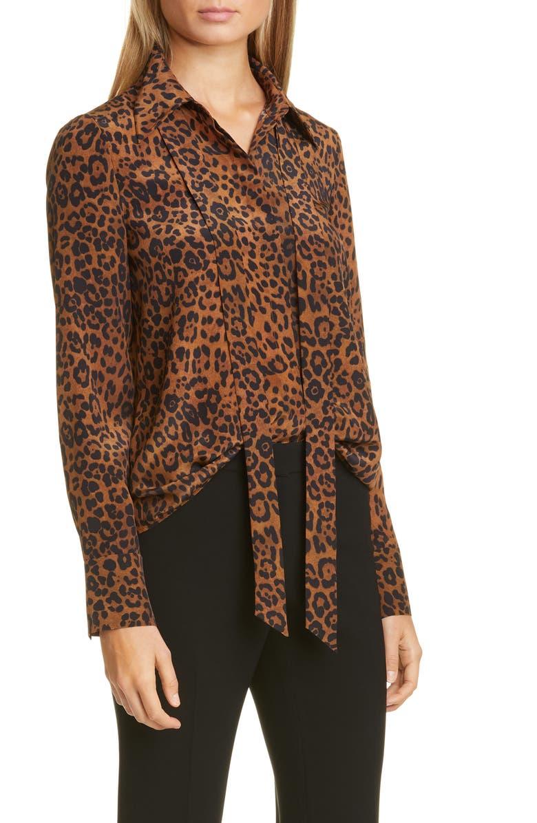 LAFAYETTE 148 NEW YORK Diana Leopard Tie Neck Silk Blouse, Main, color, TEAK MULTI