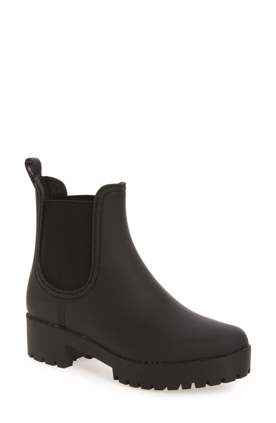,                             Cloudy Waterproof Chelsea Rain Boot,                             Main thumbnail 1, color,                             BLACK MATTE BLACK