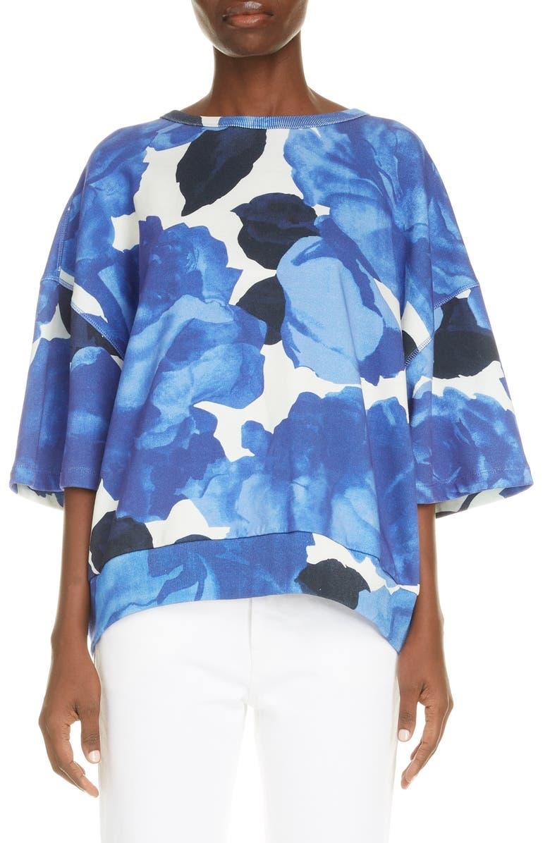 DRIES VAN NOTEN Helovi Floral Cotton Top, Main, color, BLUE