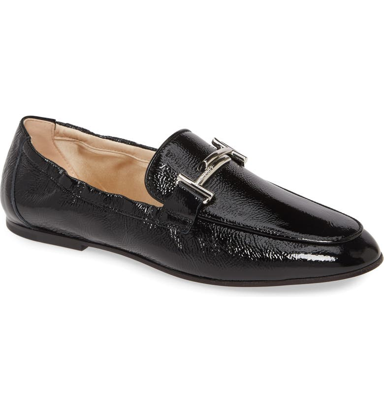 TOD'S Double-T Scrunch Loafer, Main, color, BLACK