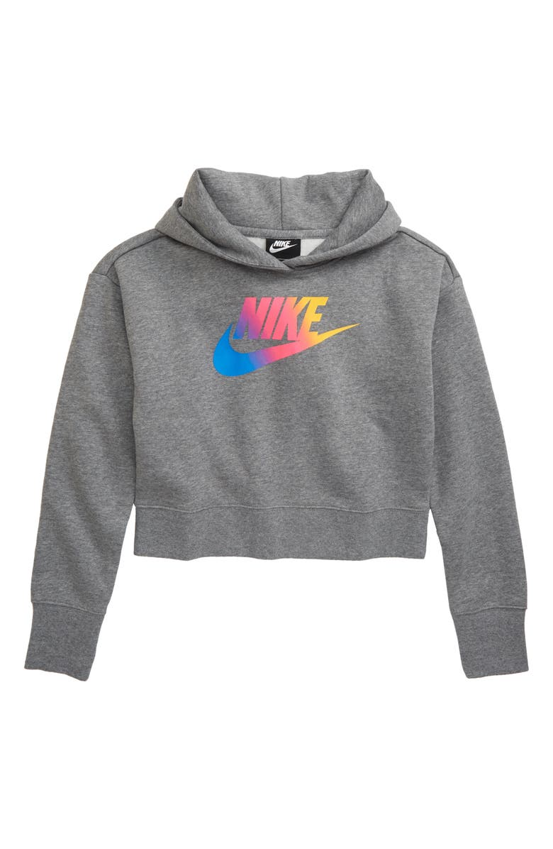 NIKE Sportswear Crop Hoodie, Main, color, CARBON HEATHER/ WHITE