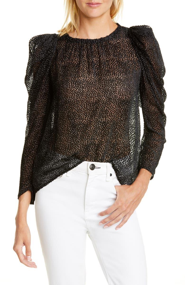 Cadia Flocked Dot Silk Blend Blouse by Ba&Sh