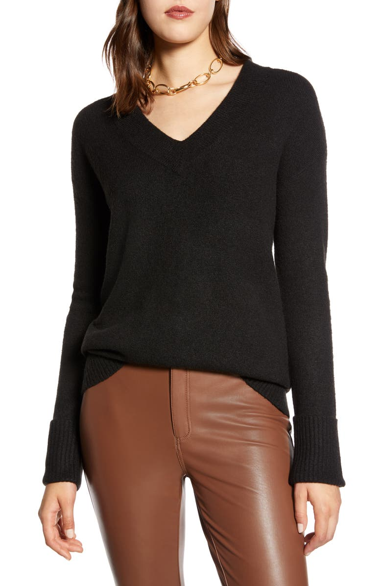 HALOGEN<SUP>®</SUP> V-Neck Long Sleeve Sweater, Main, color, BLACK