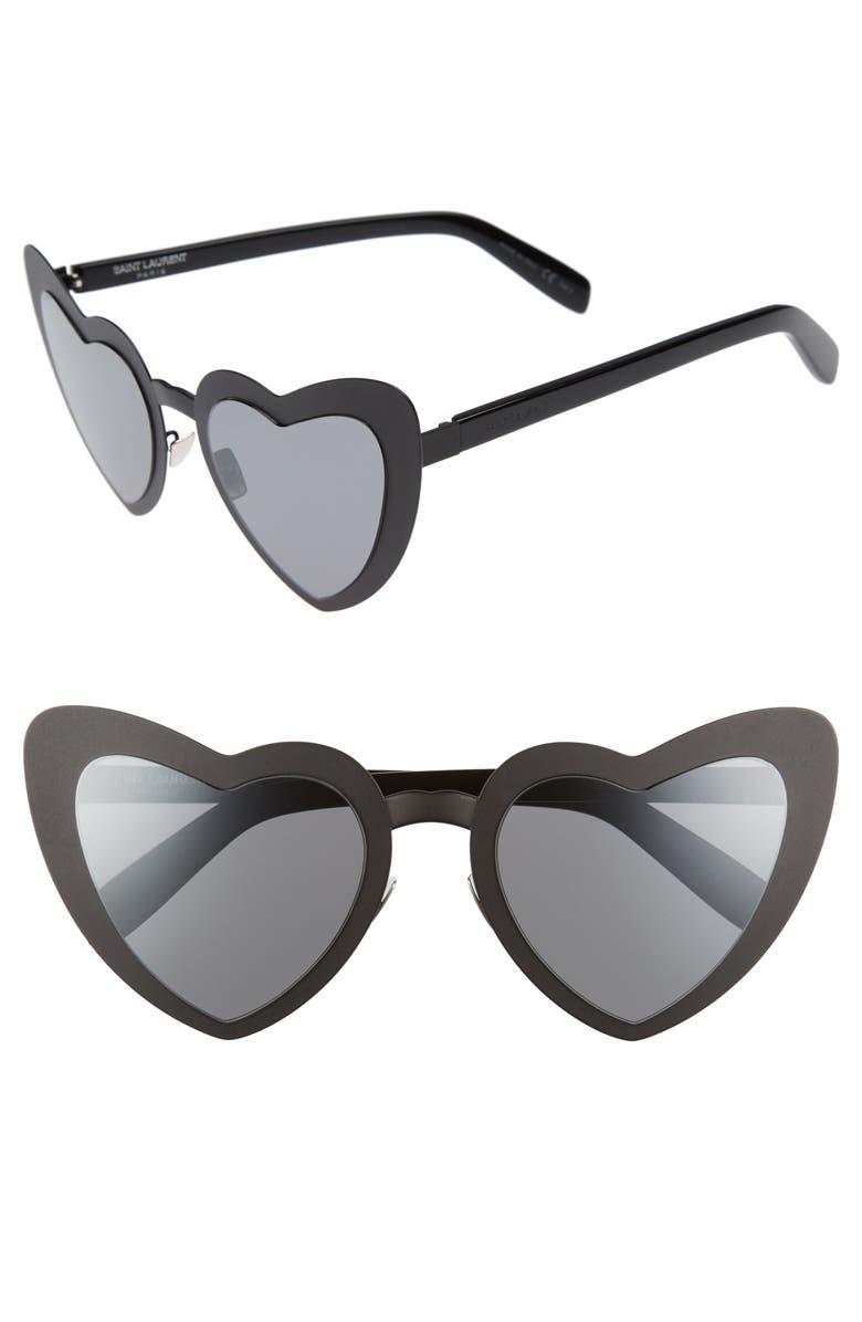 SAINT LAURENT Loulou 55mm Heart Shaped Sunglasses, Main, color, 001