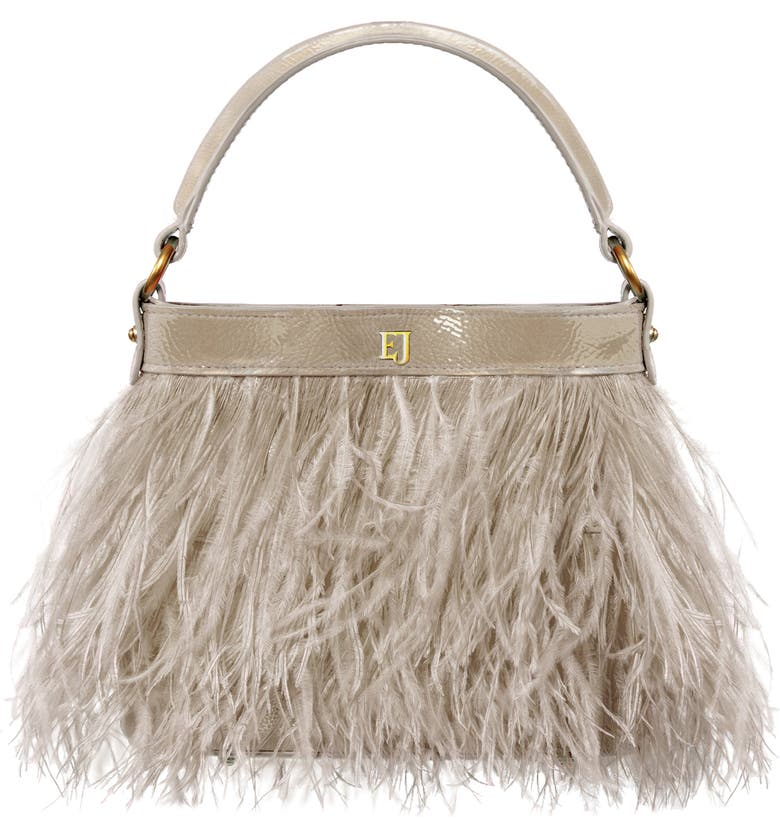 ERIC JAVITS Shindig Ostrich Feather Top Handle Bag, Main, color, TAUPE