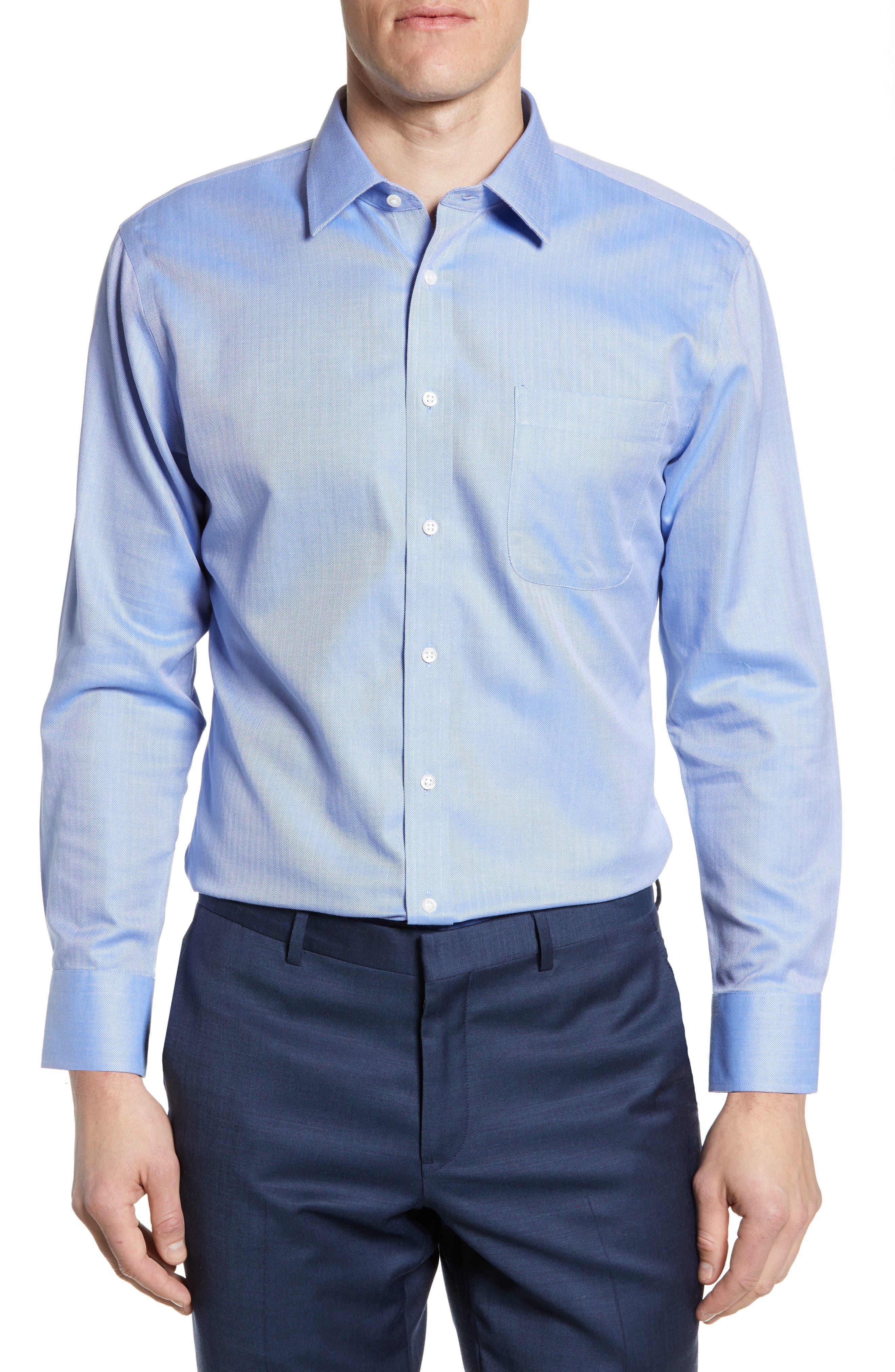 Nordstrom Shop Smartcare(TM) Trim Fit Herringbone Dress Shirt - Blue