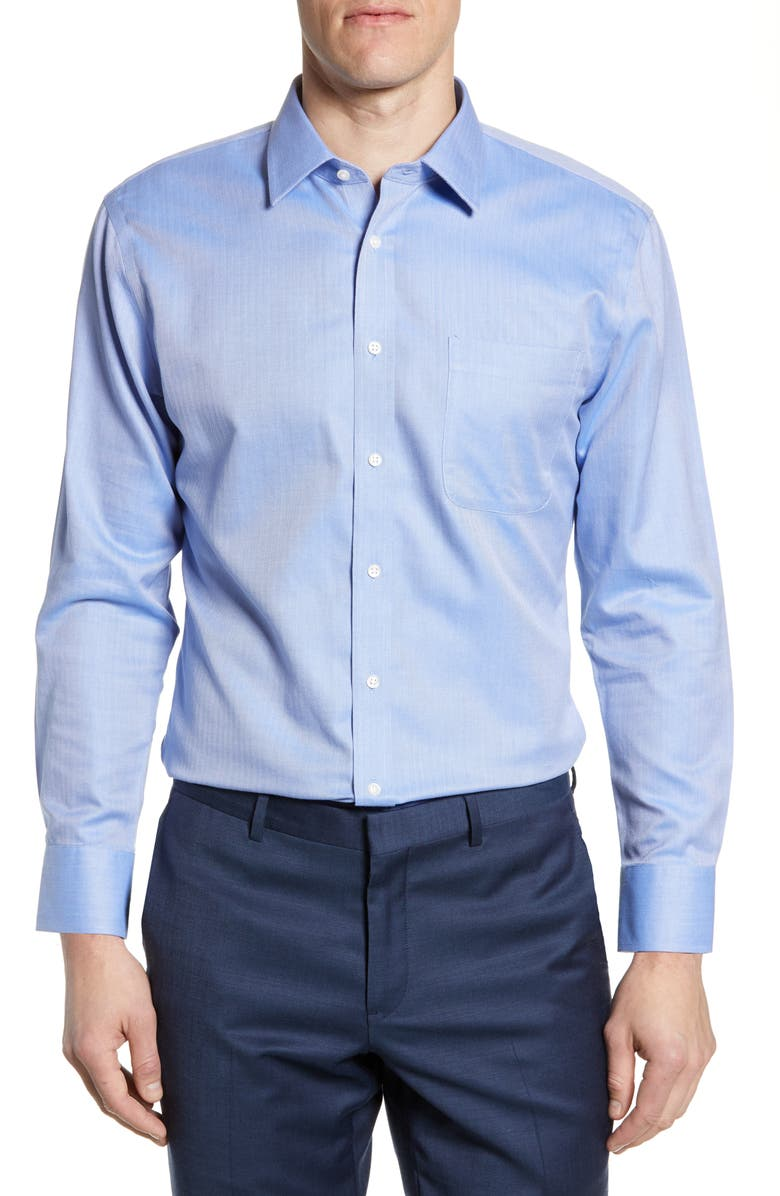 NORDSTROM MEN'S SHOP Smartcare<sup>™</sup> Trim Fit Herringbone Dress Shirt, Main, color, BLUE MARINE