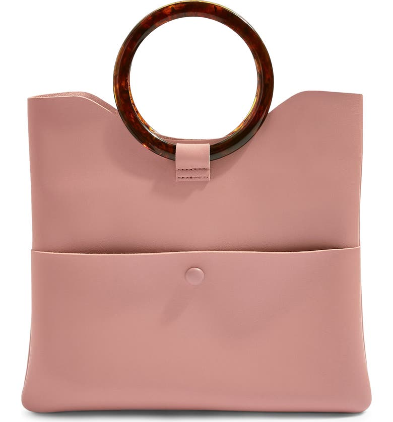 TOPSHOP Cookie Faux Leather Clutch, Main, color, 250