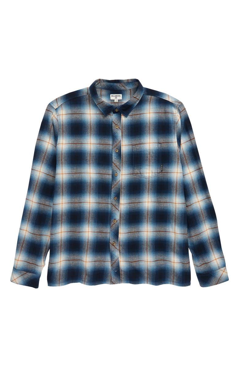 BILLABONG Coastline Plaid Flannel Shirt, Main, color, BLUE