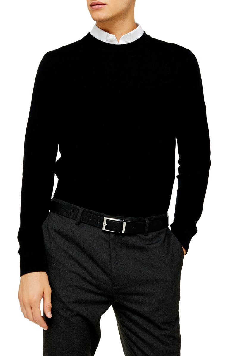 TOPMAN Essential Classic Fit Crewneck Sweater, Main, color, 001