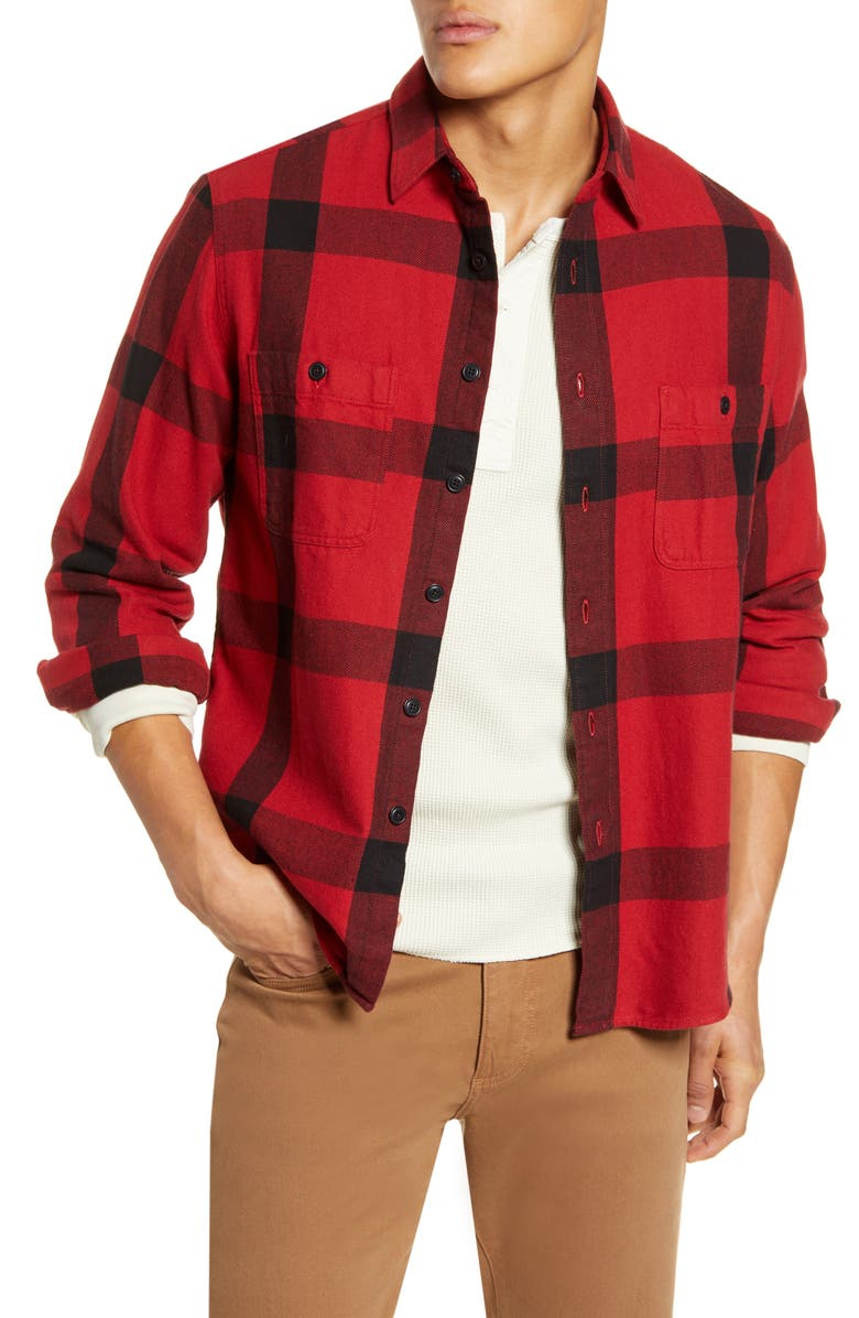 MADEWELL Windowpane Heavyweight Twill Long Sleeve Workshirt, Main, color, CARTER PLAID RUSTED RED