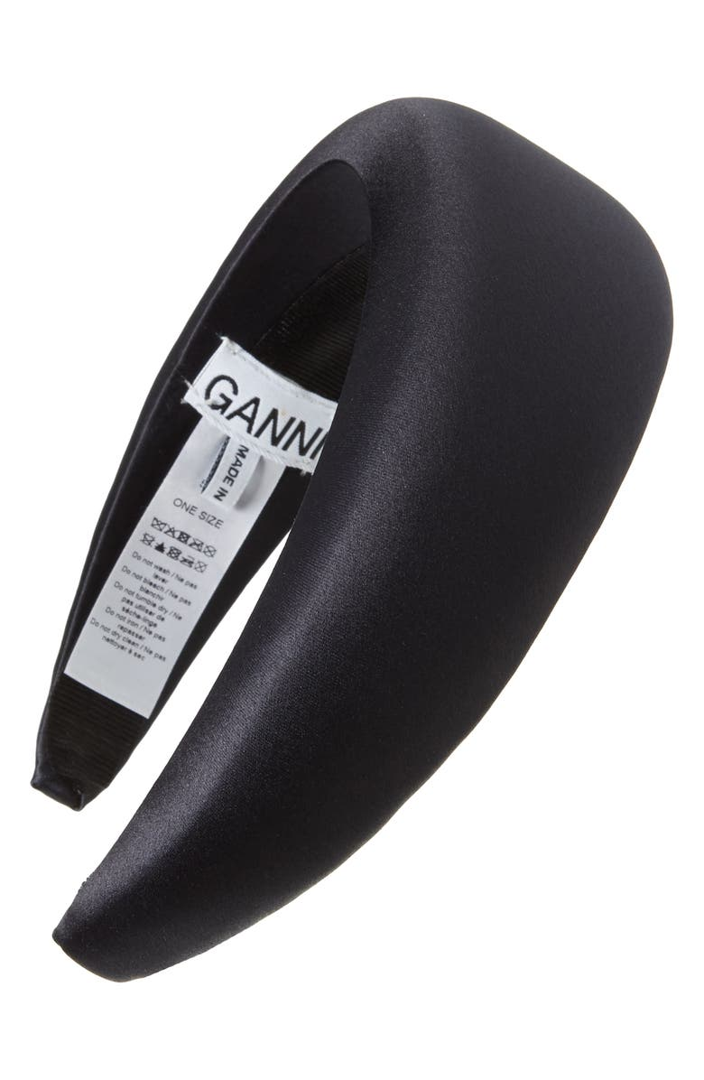 GANNI Padded Headband, Main, color, BLACK