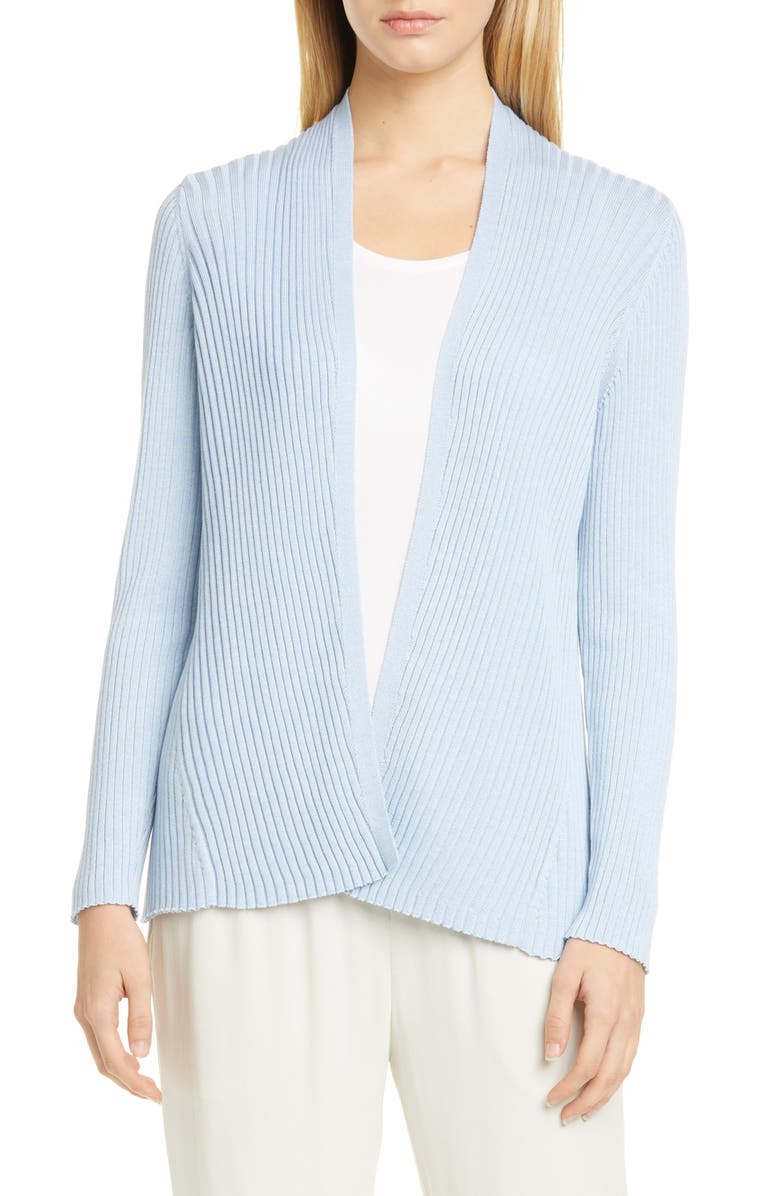 EILEEN FISHER Ribbed Cardigan, Main, color, HAZE