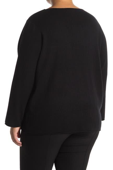 Image of T Tahari Long Sleeve V-Neck Rolled Edge Sweater