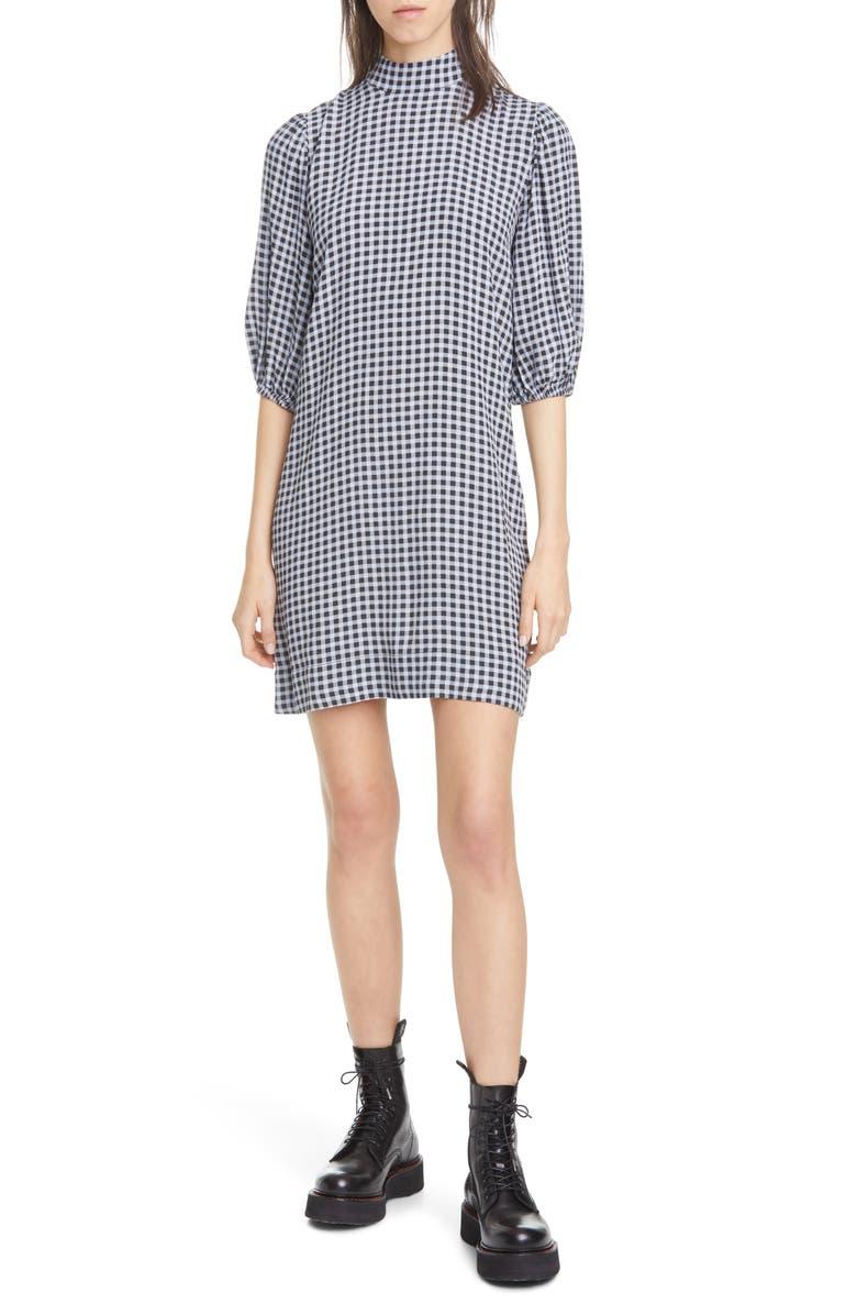 GANNI Gingham Puff Sleeve Shift Minidress, Main, color, 400