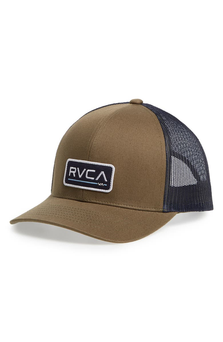 RVCA Ticket Trucker Hat, Main, color, OLIVE