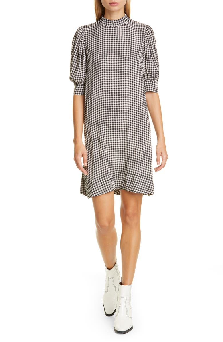 GANNI Gingham Print Crepe Dress, Main, color, BLACK