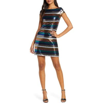 Vince Camuto Stripe Sequin Cocktail Dress, Red