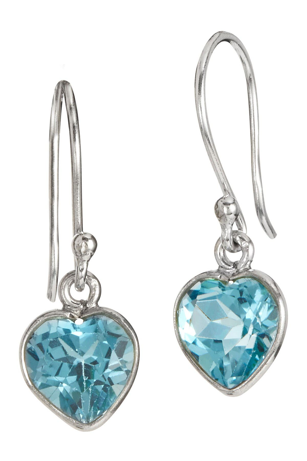 Image of Savvy Cie Sterling Silver Bezel Set Blue Topaz Heart Drop Earrings