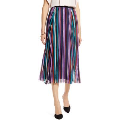 Petite Halogen Pleated Chiffon Skirt, Black
