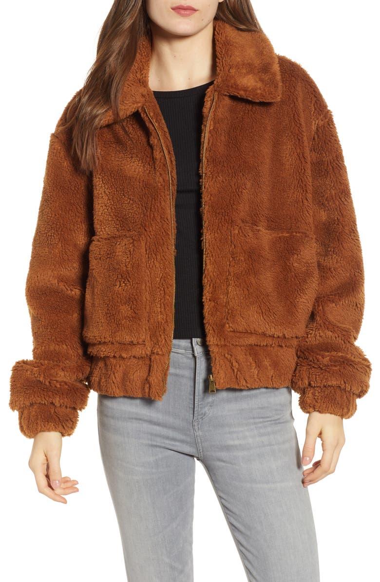 THREAD & SUPPLY Northy Faux Fur Jacket, Main, color, COPPER
