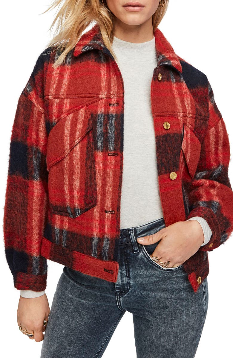 SCOTCH & SODA Oversize Wool Blend Trucker Jacket, Main, color, COMBO E