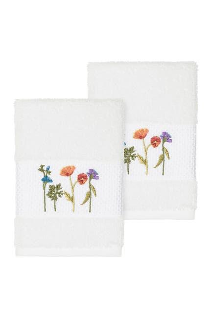 Image of LINUM HOME Serenity Embellished Washcloth - Set of 2 - White