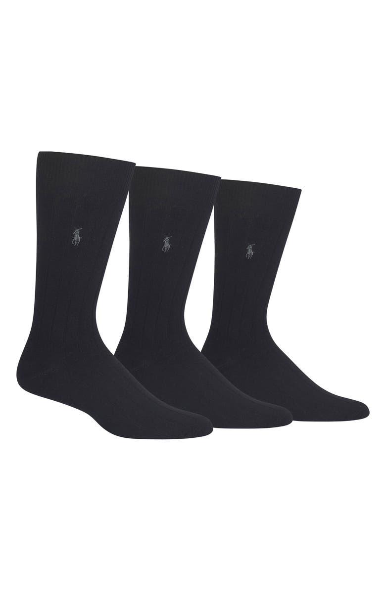 POLO RALPH LAUREN 3-Pack Crew Socks, Main, color, BLACK