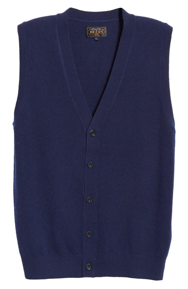 BEAMS PLUS Wool Sweater Vest, Main, color, NAVY