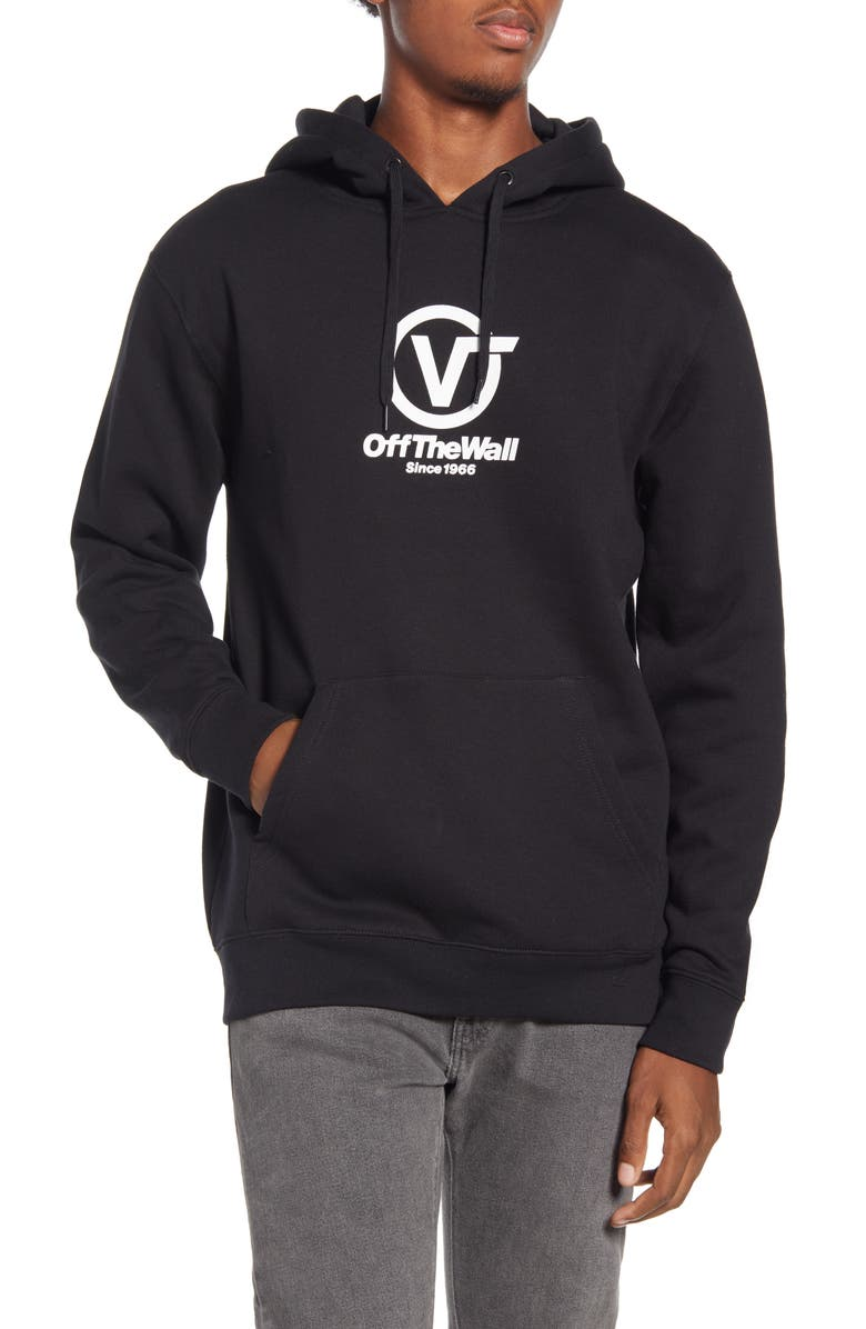 VANS Distorted Performance Hooded Sweatshirt, Main, color, BLACK