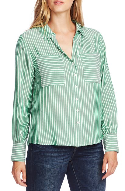 Vince Camuto T-shirts REFRESH PINSTRIPE TWO-POCKET BUTTON-UP SHIRT