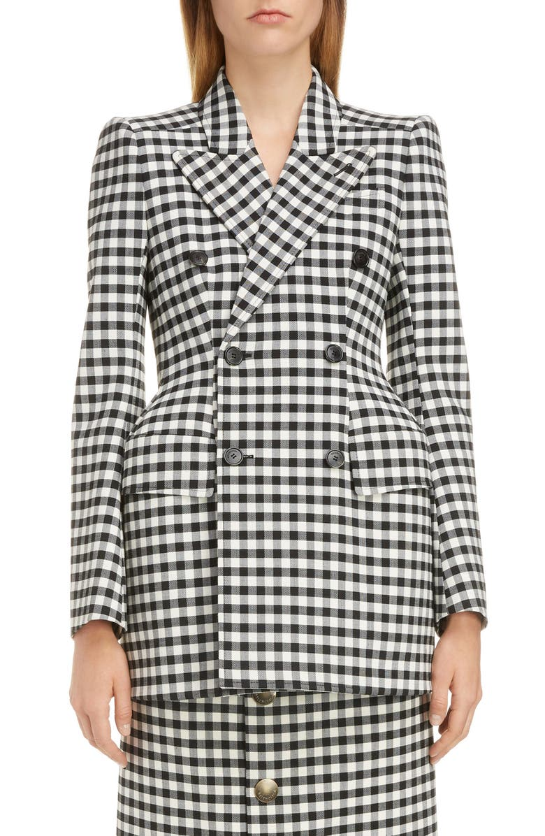 BALENCIAGA Hourglass Gingham Blazer, Main, color, BLACK/ WHITE