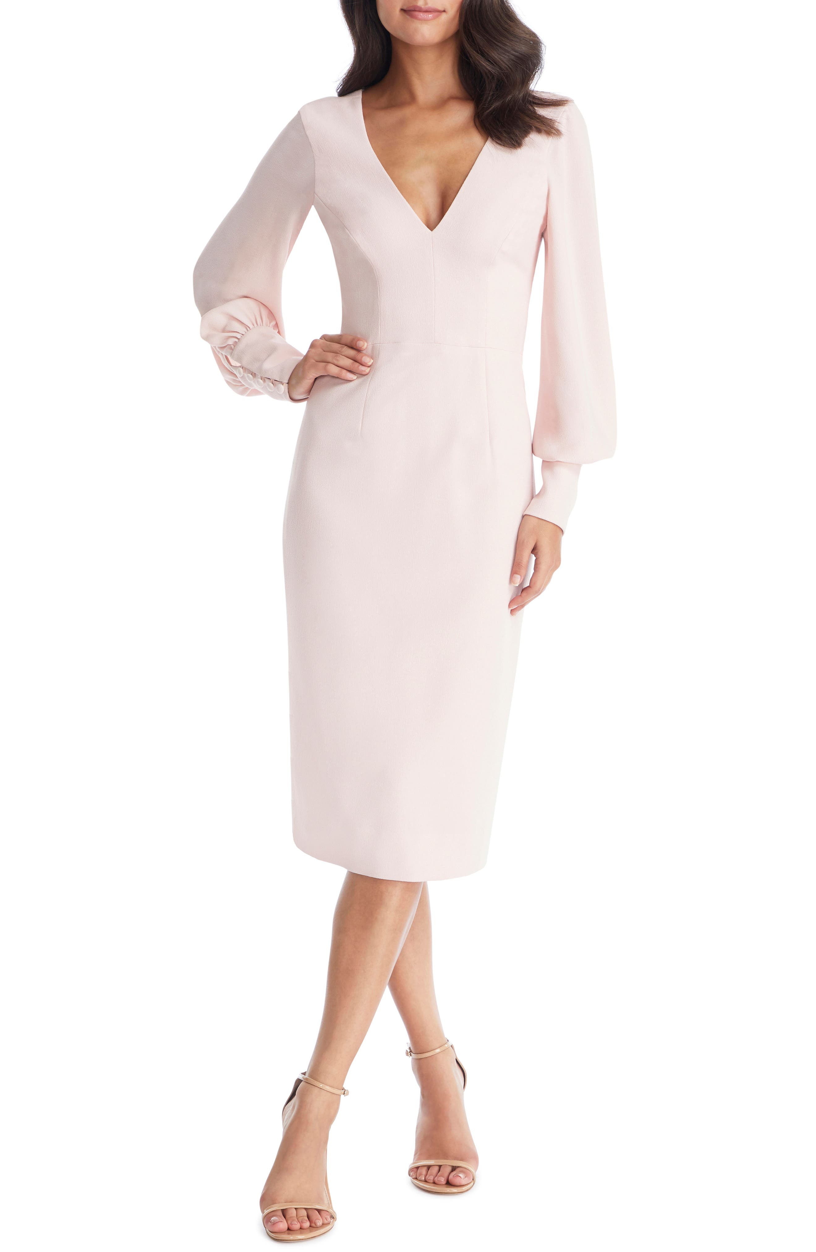 Dress The Population Norah Plunge Body-Con Dress, Pink