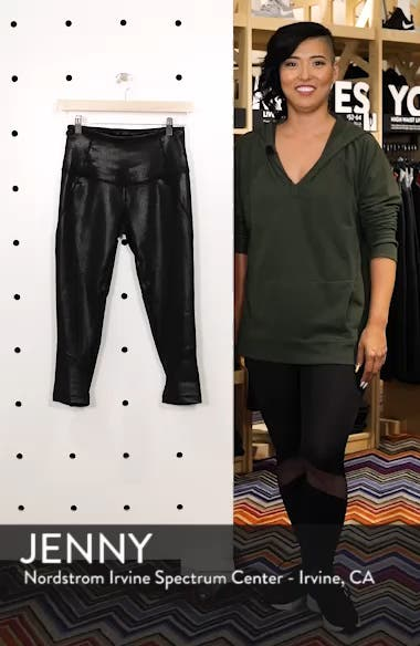 'Live In - Sultry' High Waist Mesh Crop Leggings, sales video thumbnail