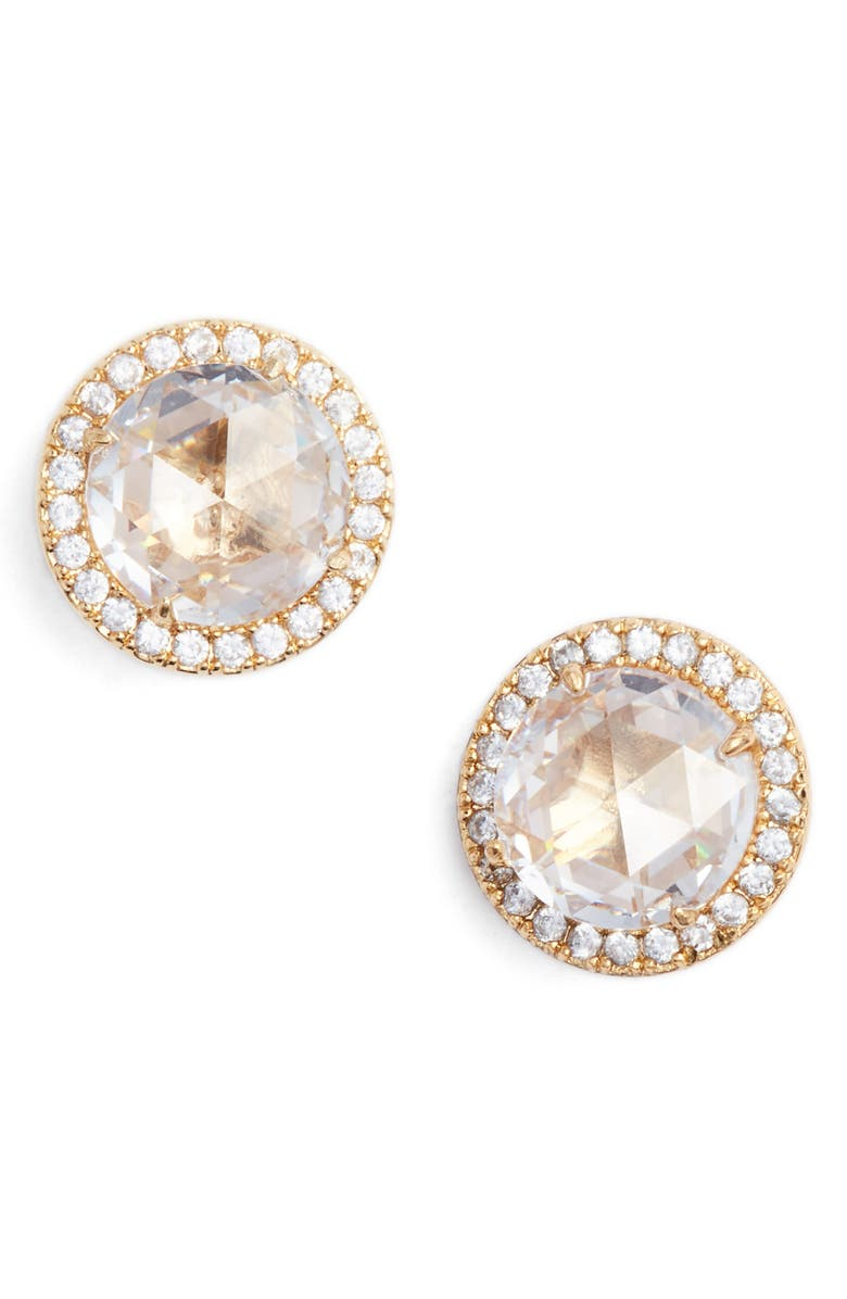 KATE SPADE NEW YORK bright ideas pavé halo stud earrings, Main, color, CLEAR/ GOLD